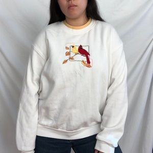 Vintage white crew neck sweater with woodpeckers
